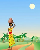 vector illustration of an african lady with a pot walking down a dirt track with coconut palms in eps 10 format with gradients