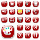 Your set of shiny button icons is ready. The blue digital art, media, communication collection.