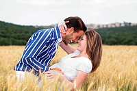 romantic couple in love outdoors
