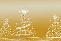 Sparkling Christmas trees on a gold background.