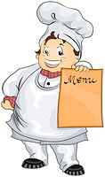 Illustration Featuring a Beaming Chef holding blank Menu Board