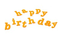sentence happy birthday written with typefaces on a white background