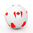 Soccer ball with the attributes of the Canada flag