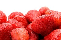Close_up of ripe strawberry on white background