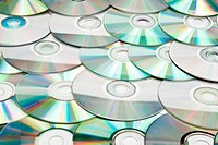 Recordable compact discs in an array. Studio shot