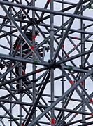 Constructive work builds on a metal stand structure.