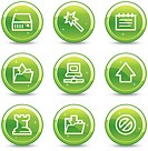 Data web icons, green glossy circle buttons series