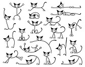 Collection of editable vector cat sketches in various positions