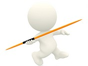 3D person with a javelin _ isolated over a white background