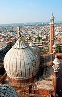 A aerial view of the Jama Masjid in Old Delhi, India