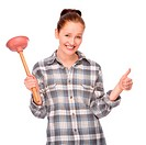 Full isolated studio picture from a young woman with plunger