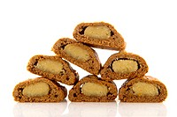 Traditional Dutch Sinterklaas delicacy cut filled speculaas