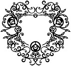 Vector. Ornament heart in black 69