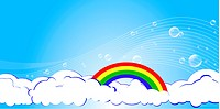 Vector illustration of the clouds with rainbow