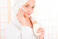 Acne facial care teenager woman clean skin in bathroom