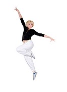 Teenage girl dancing hip_hop over white background