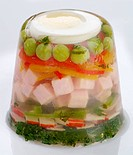Ham and vegetable in gelatin