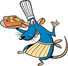 A mouse with a chef´s hat and apron holding a tray of dessert
