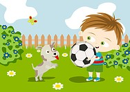 A boy holding a soccer ball with his dog nearby