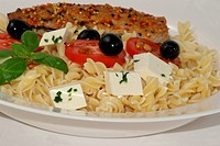 feta cheese, olive, tomato and pasta with organic basil leaf