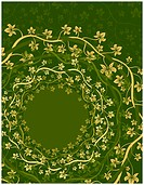 Shades of yellow and green ornate floral vines in circles
