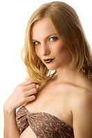 beautiful woman in bikini with brown lips looking in camera