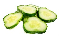 cut cucumber isolated on white background