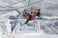 Austria, Styria, Schladminger Tauern, People in chair lift