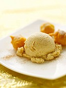 Cinnamon ice cream with profiteroles