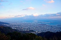 Kobe and Osaka Panorama view from Kikuseidai on the Mt.Maya, Japan