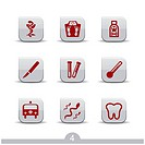 Set of nine medical web icons from series