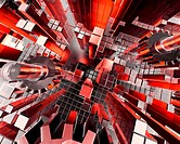 A 3d render of abstract cubes and gears with a dynamic perspective.