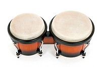 Bongos, Latin percussion instrument, isolated on white.