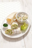 Chicken and cucumber salad wraps