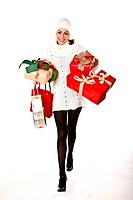Cute Cheerful Woman Shopping Lots Of Christmas Presents