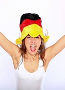 Cheerful German Soccer Fan Woman Wearing A Hat