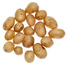 White Artisan Fingerling Potatoes Isolated on White.