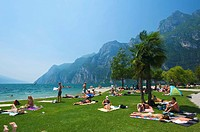 Beach in Riva del Garda on Lake Garda, Trentino, Italy, Europe