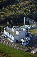 Aerial view, thermal waste treatment and power generation plant TREA of the MVV Umwelt GmbH company in Leuna, Saxony_Anhalt, Germany, Europe