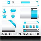A collection of silver and blue web design icons, boxes and buttons. Image contains gradient meshes.