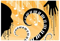 Abstract vector illustration of man and music.