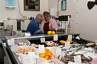 Fresh Fish Counter Display In A Fishmongers hastings