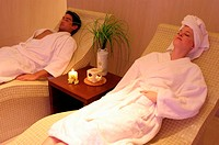 A couple relaxing at a spa together