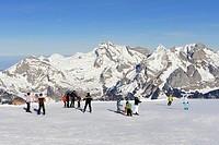 Skiing on Chaeserrugg Mountain, 2262m, overlooking the Appenzell Alps with Saentis, Wildhuser Schafberg und Altmann mountains, seen from left, canton ...
