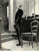 Alfred Dreyfus being questioned, Dreyfus affair, trial in Rennes, France, 1899, historical illustration, 1900