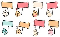 8 doodle vector faces with different expressions and sign boards. Vector Image