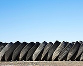 Discarded tires or tyres, rubber outer tubes piled up. Speed Week, an annual amateur auto racing event on the Bonneville Salt Flats, Utah, USA.