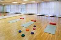 Rehabilitation Center gymnasium with sprung wooden floor, exercise mats, and inflated gym balls for exercise