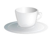 Realistic white empty coffee cup, vector illustration