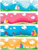 Nature Banner with Snail _ Vector